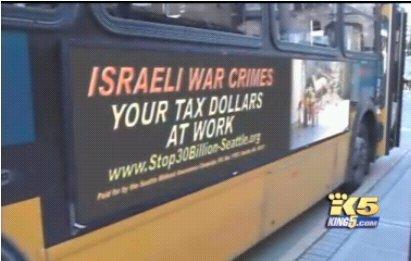 Bus in Seattle mit israelkritischer Werbung