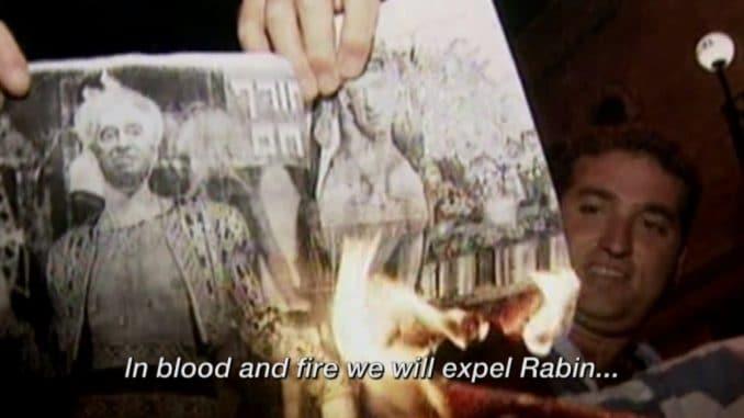 Hetzparolen vor der Ermordung Rabins