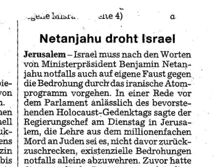Netanjahu droht Iran