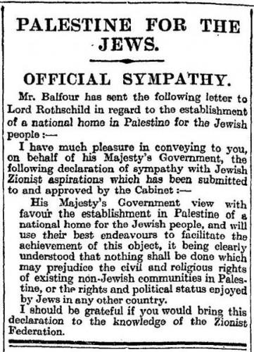 Balfour Declaration 9 November 1917