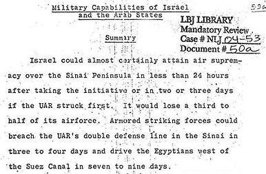 1967 CIA Lagebeurteilung Israel