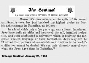 Zeitung Mussolinis lobt Zionisten