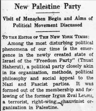 NYT Brief Einstein Arendt über Herut