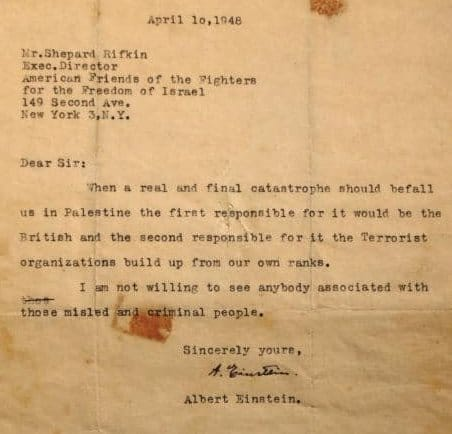 Albert Einstein über das Massaker von Deir Jassin
